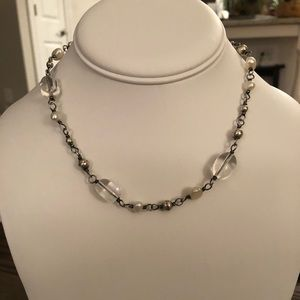 Silpada Crystal, Silver, and Pearl Necklace